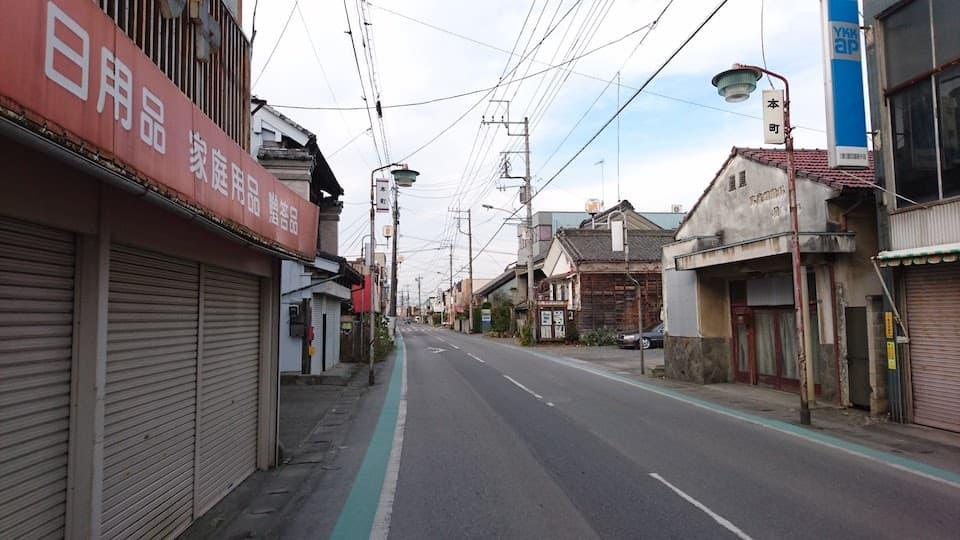 商店が立ち並ぶ深谷宿周辺