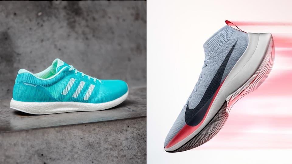 Nike vs Adidas「サブ2シューズ」頂上対決!アディゼロとヴェイパーフライのスペック比較