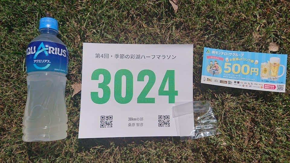 《季節の彩湖ハーフマラソン》のナンバーカード