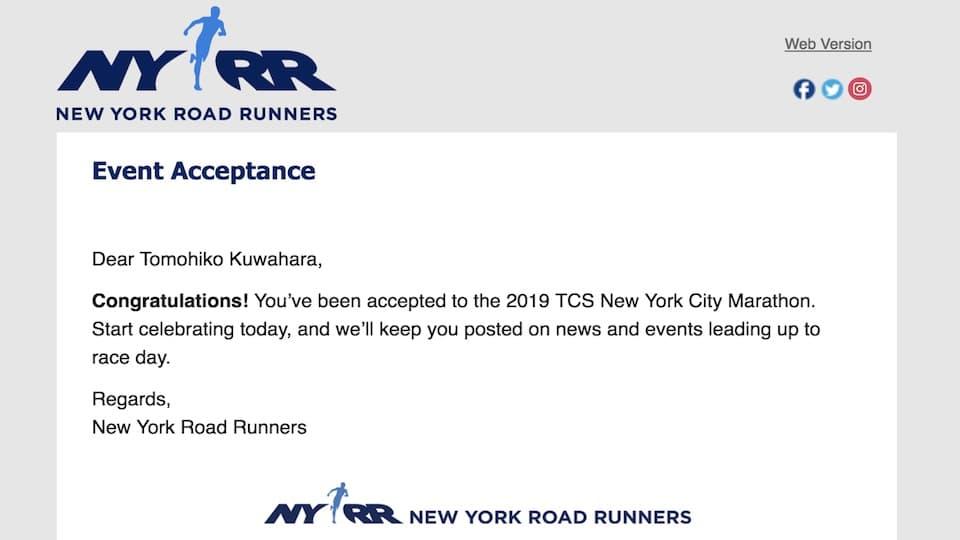 ニューヨークシティマラソン【参加保証枠エントリー】日本語の記録証でも出走権ゲット